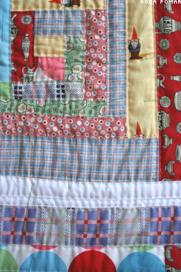 hand quilted log cabin