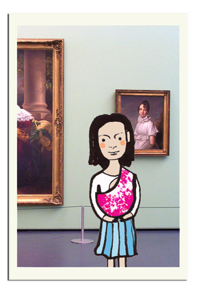 de baby sling no museu