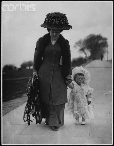 Mother and Toddler Take Stroll